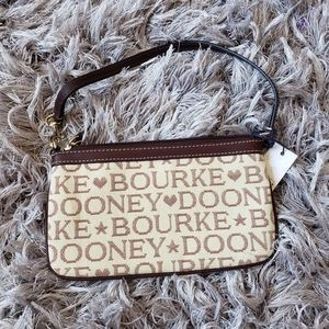 NWT Dooney and Bourke Large Brown Logo Wristlet